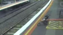 Watch the shocking moment a pram rolls onto the tracks in Australia