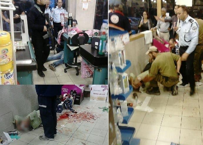 لقطات لاسعاف المصابين المرتميين أرضا داخل السوبر ماركت