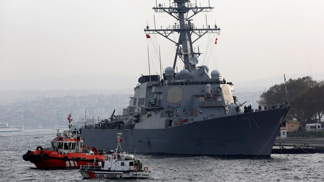U.S. Navy guided-missile destroyer USS Ross prepares to leave from port. (File photo: Reuters)