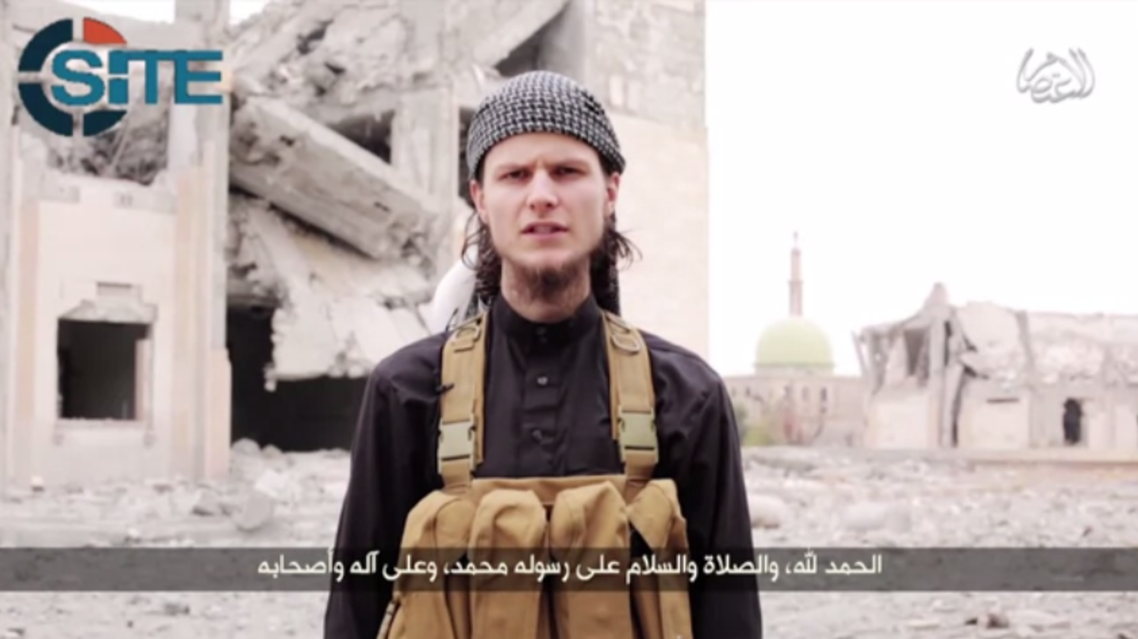 A still from the video, where Canadian John Maguire calls for attacks on Canadian soil. (Youtube grab)