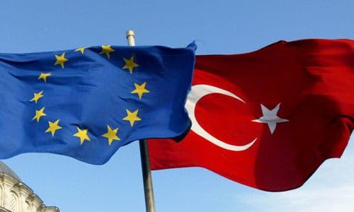 علم تركيا وعلم الاتحاد الأوروبي