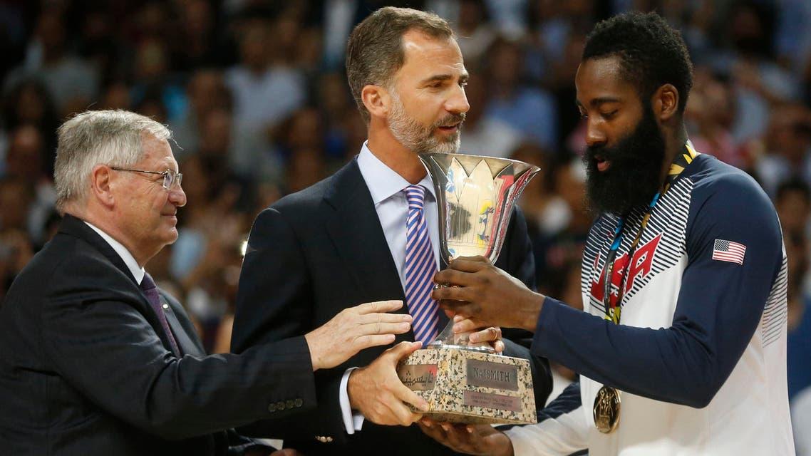 Spanish King Felipe James Harden FIBA President Ivan Mainini Reuters