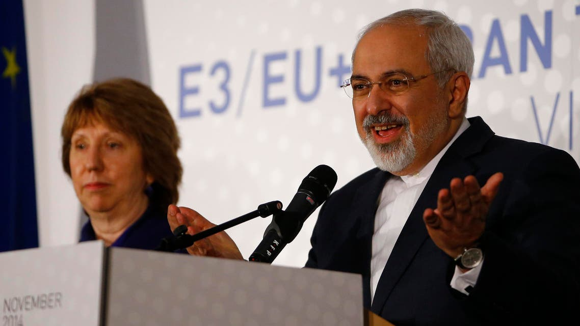 Iranian Foreign Minister Javad Zarif and EU envoy Catherine Ashton address a news conference after a meeting in Vienna November 24, 2014. reuters