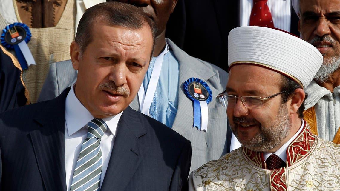 Tayyip Erdogan chats with Head of Turkey's Religious Affairs Directorate Mehmet Gormez Reuters