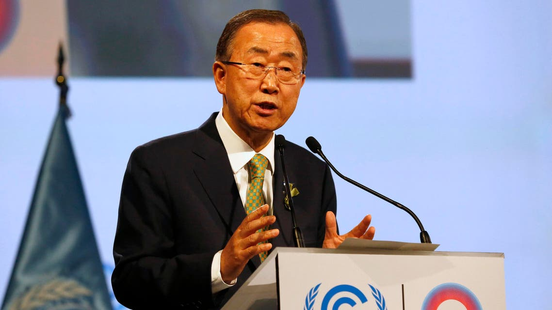 United Nations Secretary-General Ban Ki-moon gives a speech during the opening of the High Level Segment of the U.N. Climate Change Conference COP 20 in Lima
