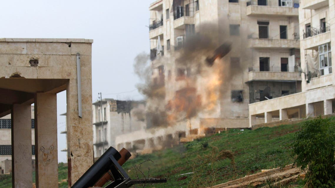 A locally made shell is launched by rebel fighters towards forces loyal to Syria's President Bashar al-Assad at the frontline in al-Breij district of Aleppo Dec. 10, 2014. (Reuters)