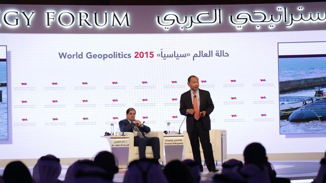 المفكر السياسي الأمريكي الشهير فرانسيس فوكوياما والمدير العام لقناة العربية الدكتور عادل الطريفي