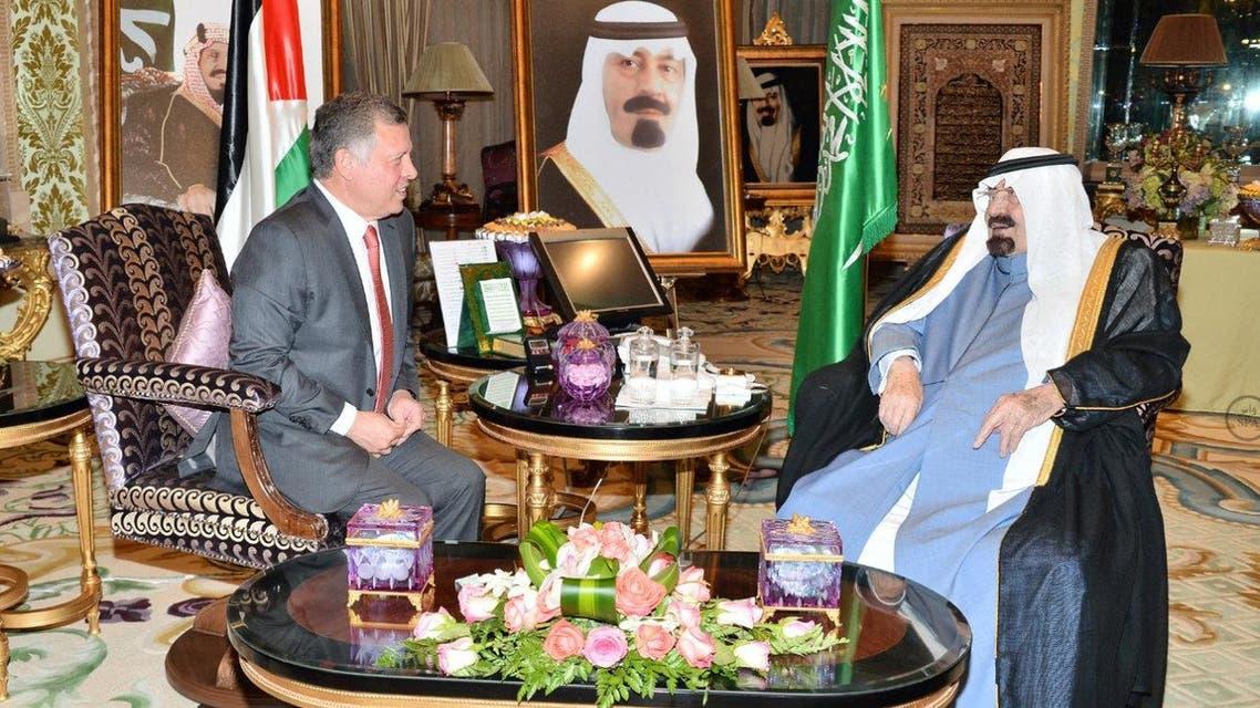 Saudi King Abdullah and Jordanian King Abdullah II SPA