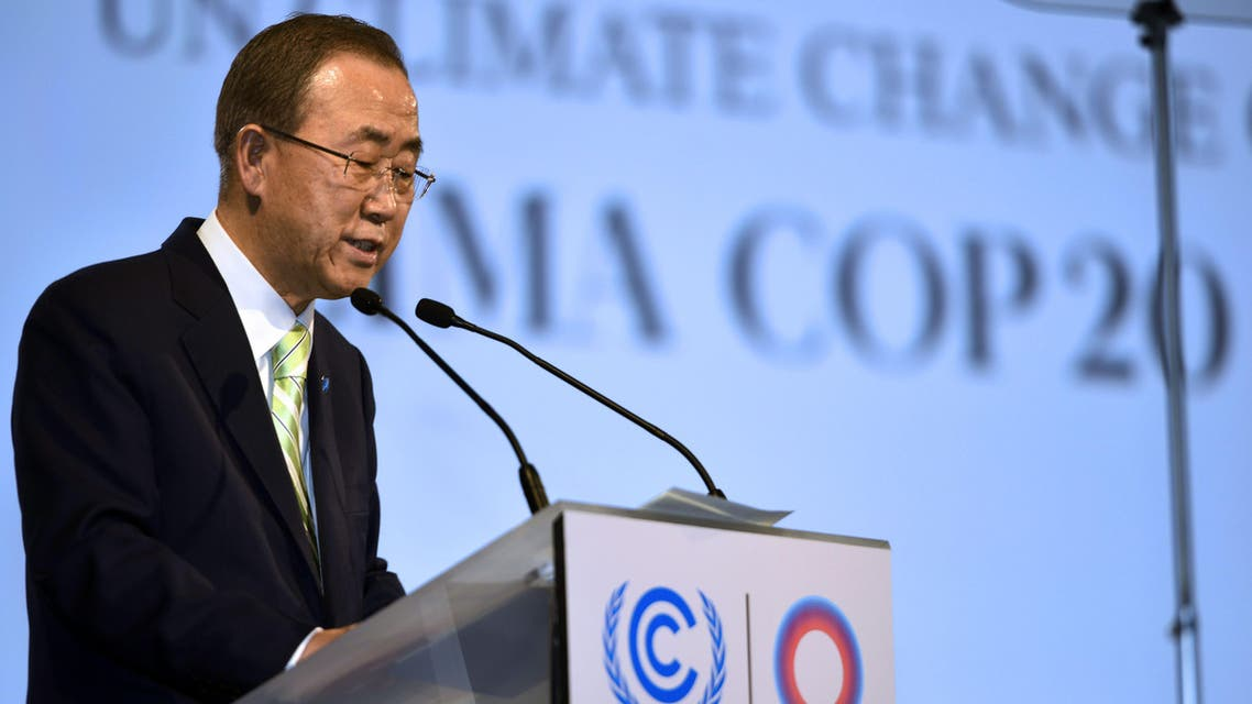 UN Secretary Genreral Ban Ki-moon addresses participants of the High-Level Segment of the 20th session of the Conference of the Parties on Climate Change (COP20). (AFP)