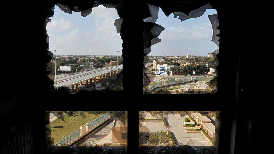 A broken window of the Benghazi Medical Center is seen after a shell hit the sixth floor causing a fire in part of the building. (File photo: Reuters)