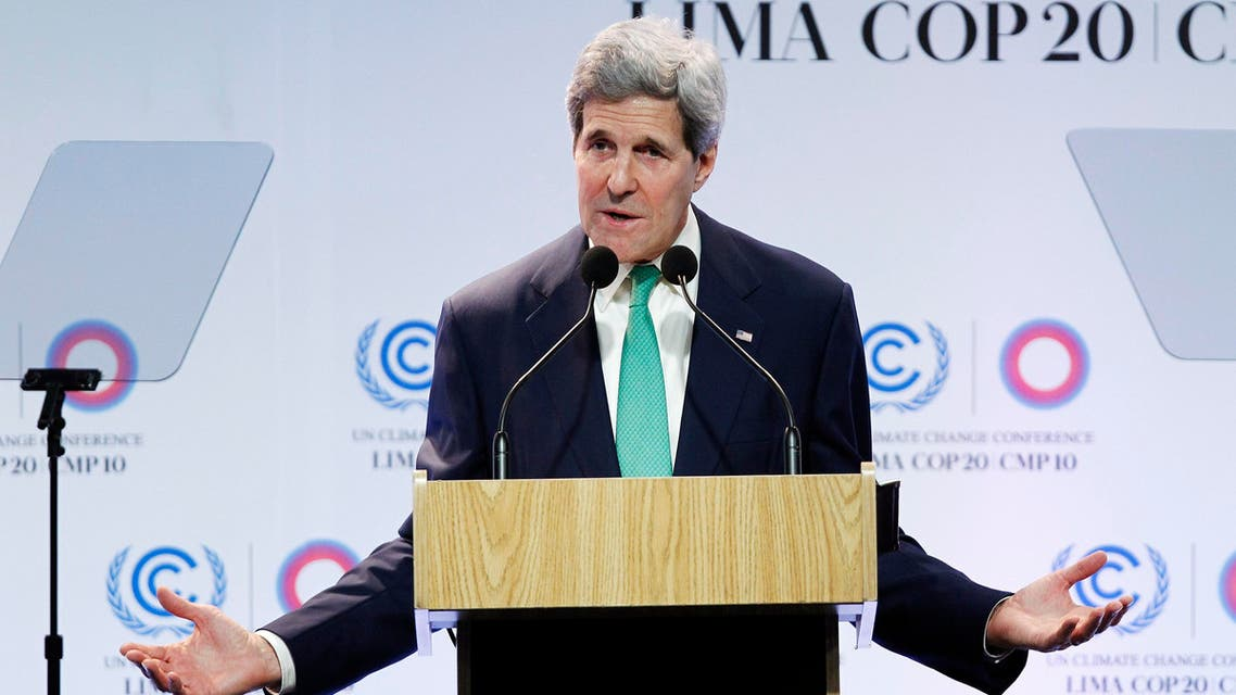 U.S. Secretary of State John Kerry delivers a speech at the U.N. Climate Change Conference COP 20 in Lima December 11, 2014. (File photo: Reuters)