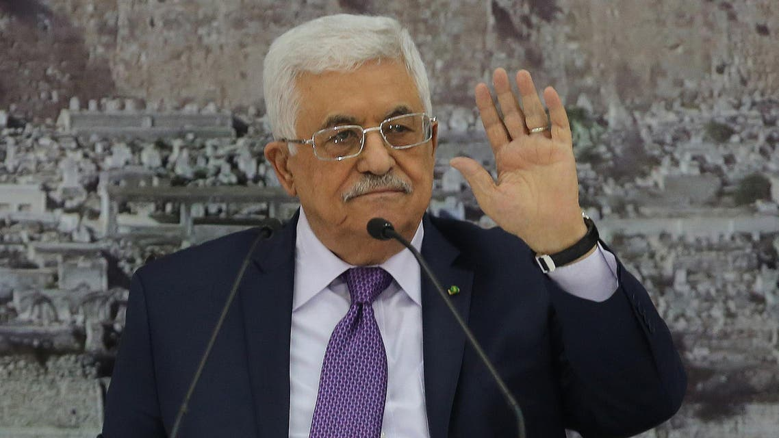 Palestinian president Mahmud Abbas gestures during a meeting with Palestinian leaders on December 18, 2014, in the West Bank city of Ramallah. AFP