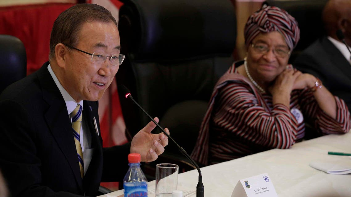 United Nations Secretary General Ban Ki-moon (L) speaks during a meeting with Liberia's President Ellen Johnson Sirleaf at the Ministry of Foreign Affairs in Monrovia December 19, 2014 Reuters
