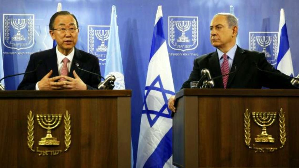 UN Secretary General Ban Ki-moon, left, and Prime Minister Benjamin Netanyahu hold a joint press conference following a meeting on July 22, 2014 at the Defense Ministry in Tel Aviv, Israel. (AP)