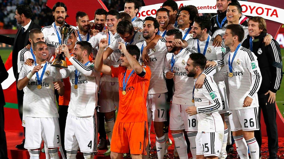 Real Madrid celebrates winning the Club World Cup final soccer match against San Lorenzo at Marrakesh stadium December 20, 2014.reuters