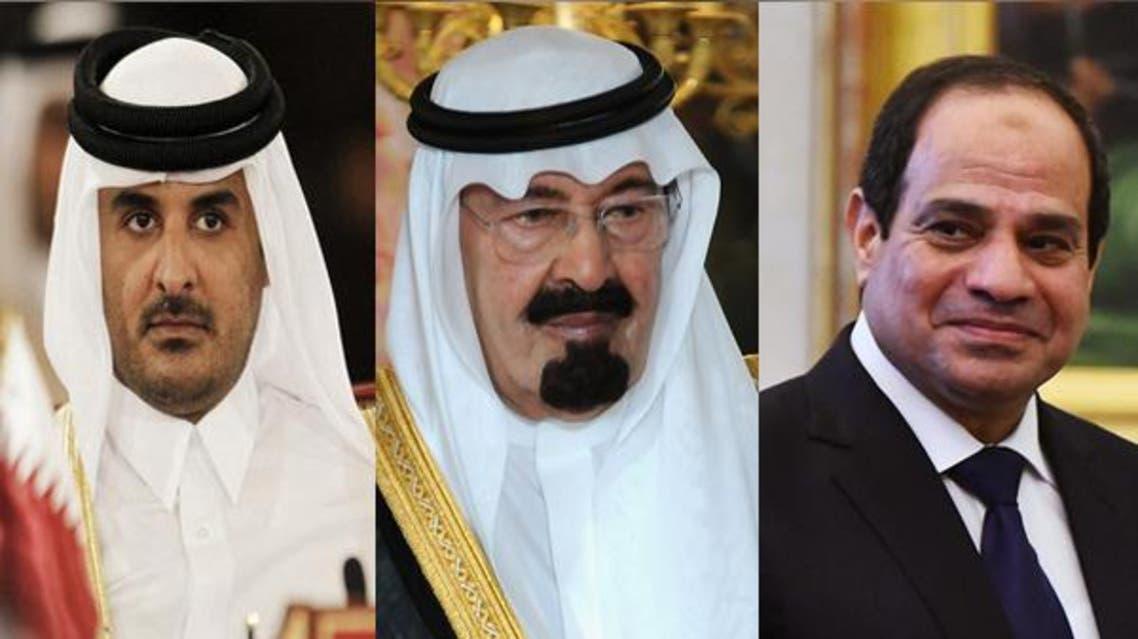 السيسي الملك عبدالله تميم بن حمد مصر السعودية قطر رئيس ملك أمير