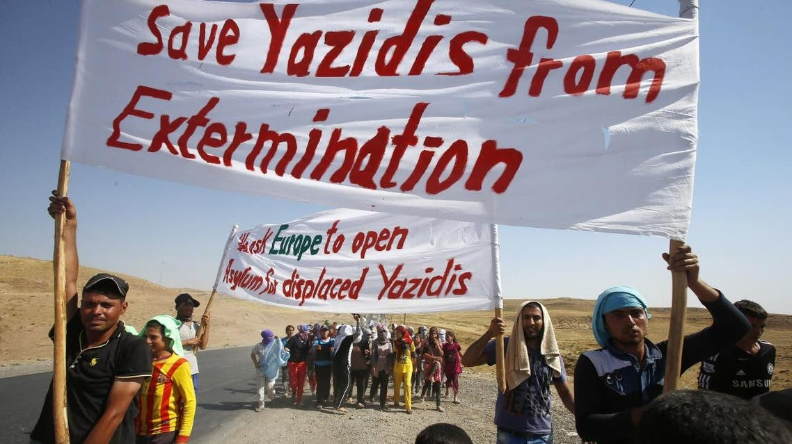 Members of the minority Yazidi sect in Iraq are demanding protection from the ISIS militants Reuters