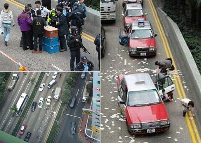 أربع صور لما حدث حين تبعثر مليون و960 ألف دولار من صناديقها في الشارع العام