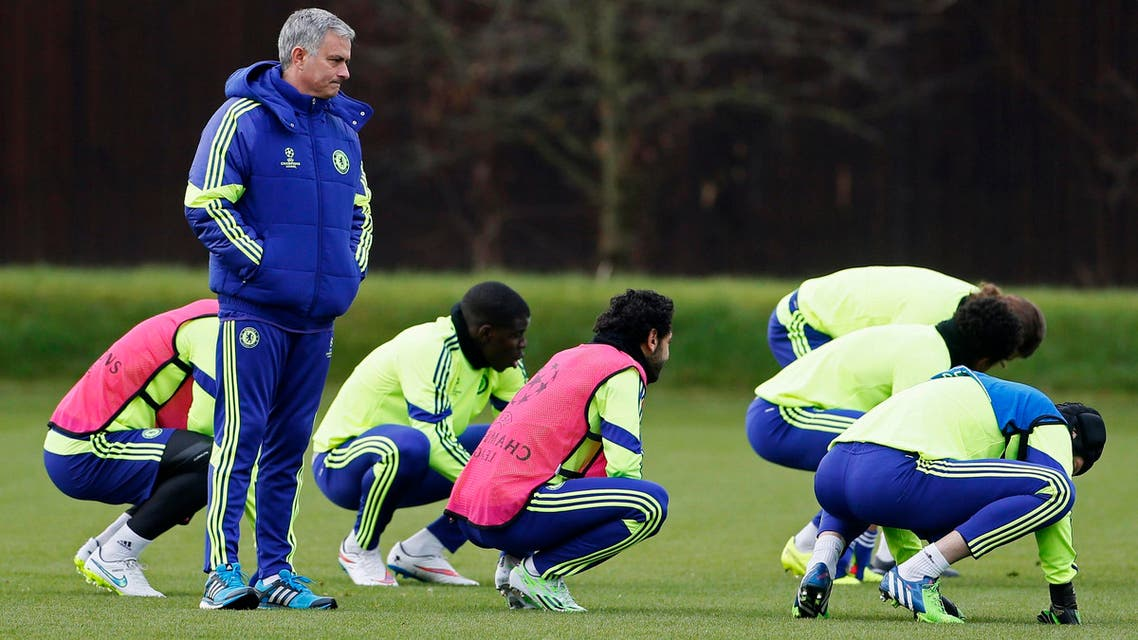 Chelsea's manager Jose Mourinho attends a team training session in Cobham, southern England Dec. 9, 2014. (Reuters)