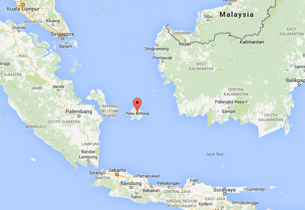 Search for missing airasia flight halted al arabiya english on twitter local media posted a map of the belitung island saying the plane had lost contact near this area the island is on the east coast of sumatra publicscrutiny Images