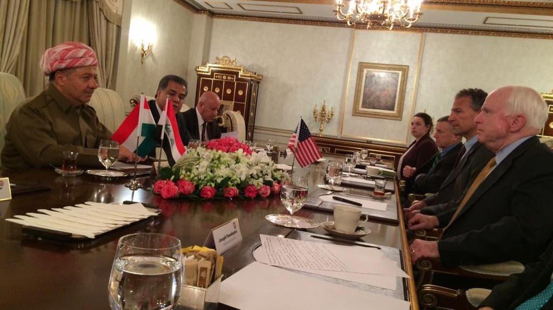 Senator John McCain tweeted this photo from his meeting with Kurdish President Massoud Barzani. (Photo courtesy: Twitter)
