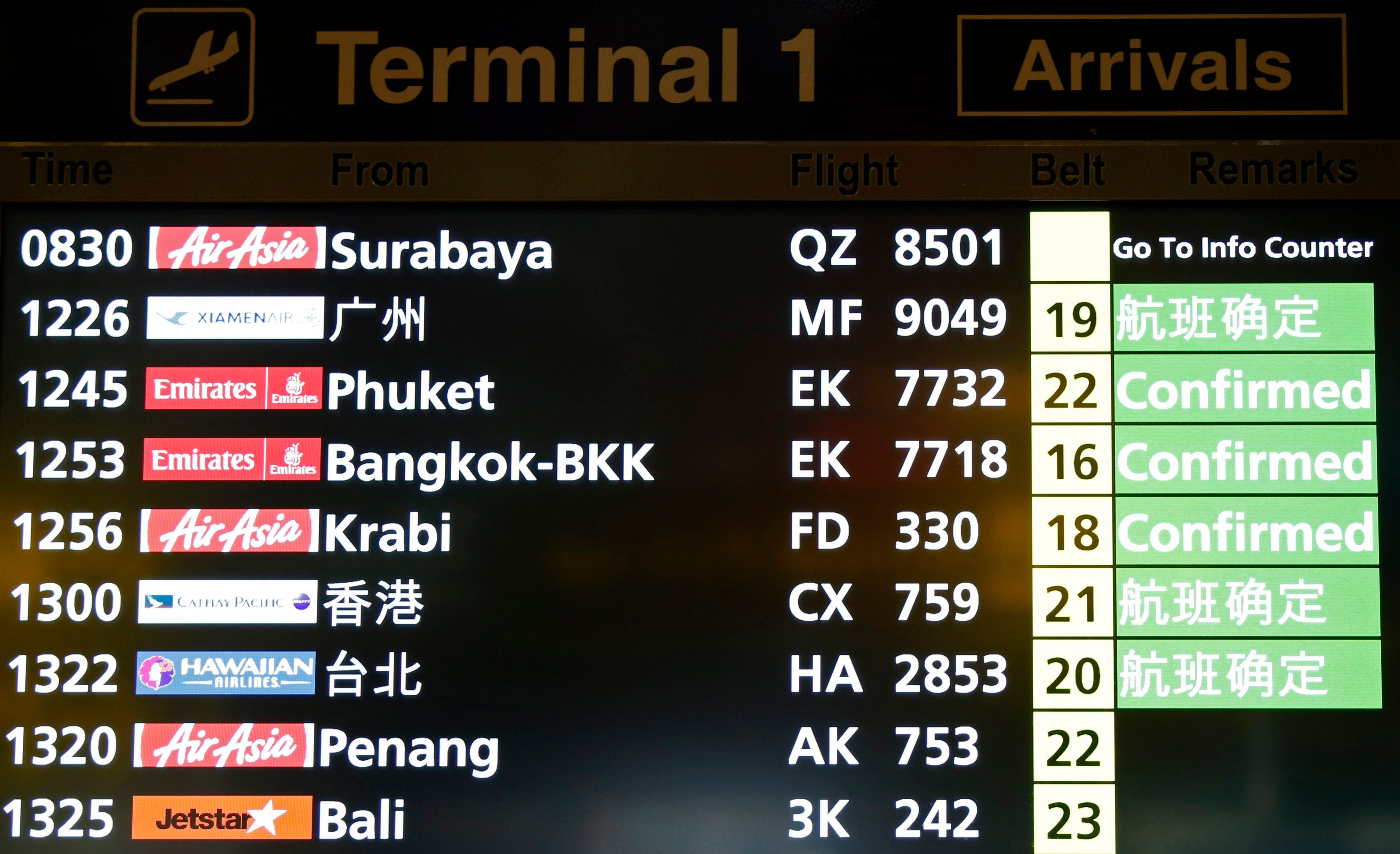 A flight arrival information signboard shows the status of AirAsia flight QZ 8501 from Indonesian city of Surabaya to Singapore at Changi Airport in Singapore December 28, 2014. reuters