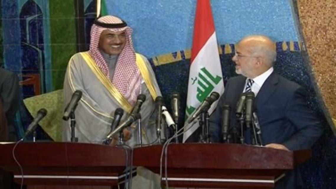 وزير الخارجية الكويتي صباح خالد الحمد الصباح و وزير الخارجية العراقي إبراهيم الجعفري في مؤتمر صحفي