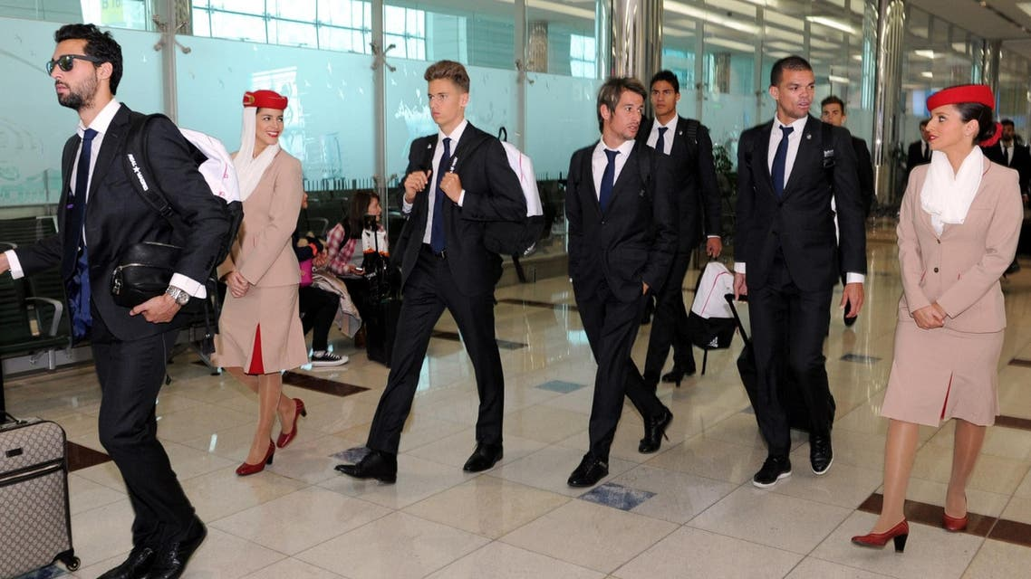Real Madrid's Pepe and Coentrao arrive at Dubai International Airport after an Emirates flight from Madrid. (Emirates)