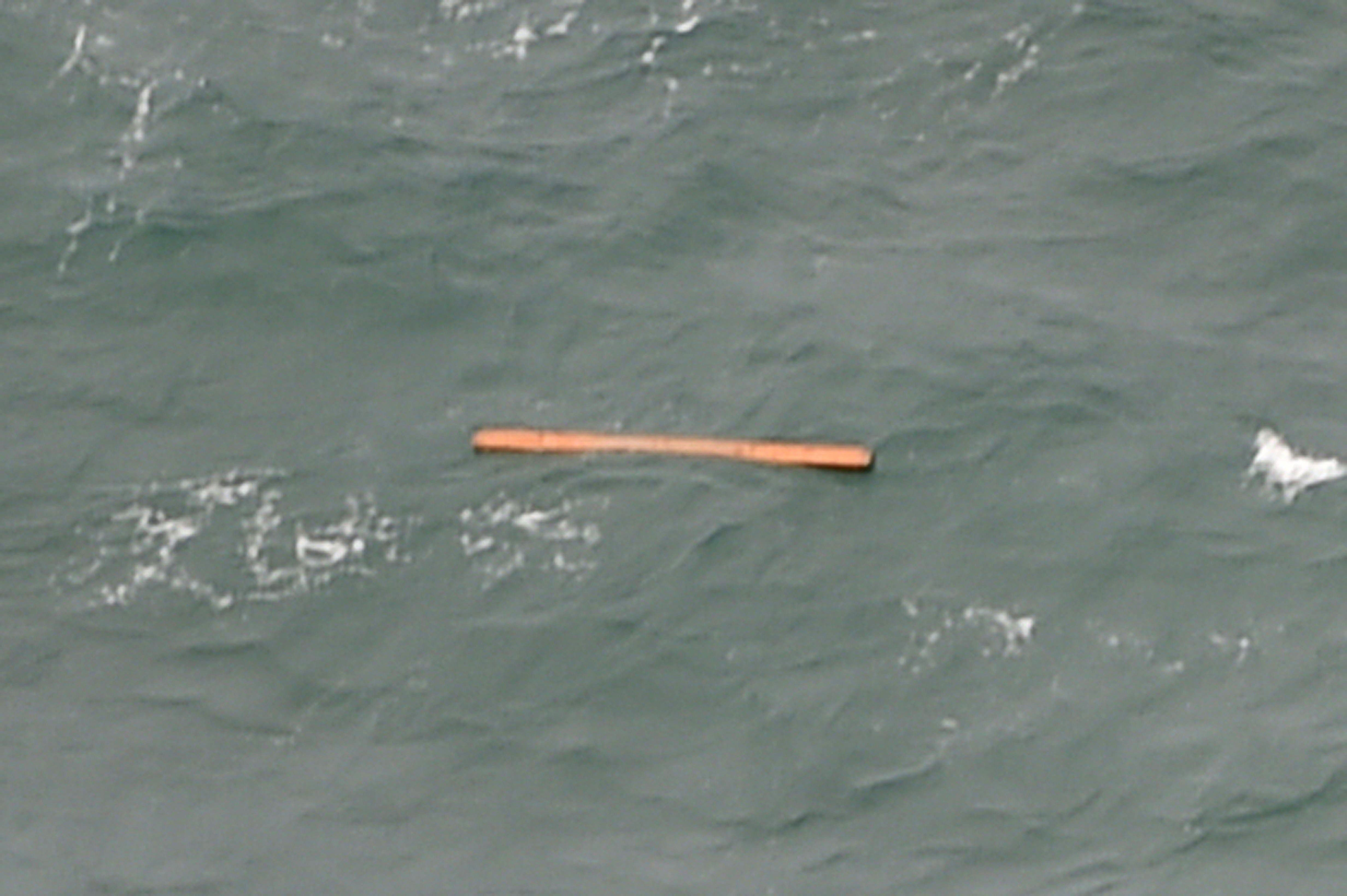 This aerial view taken from an Indonesian search and rescue aircraft over the Java Sea shows floating debris spotted in the search area. (AFP)