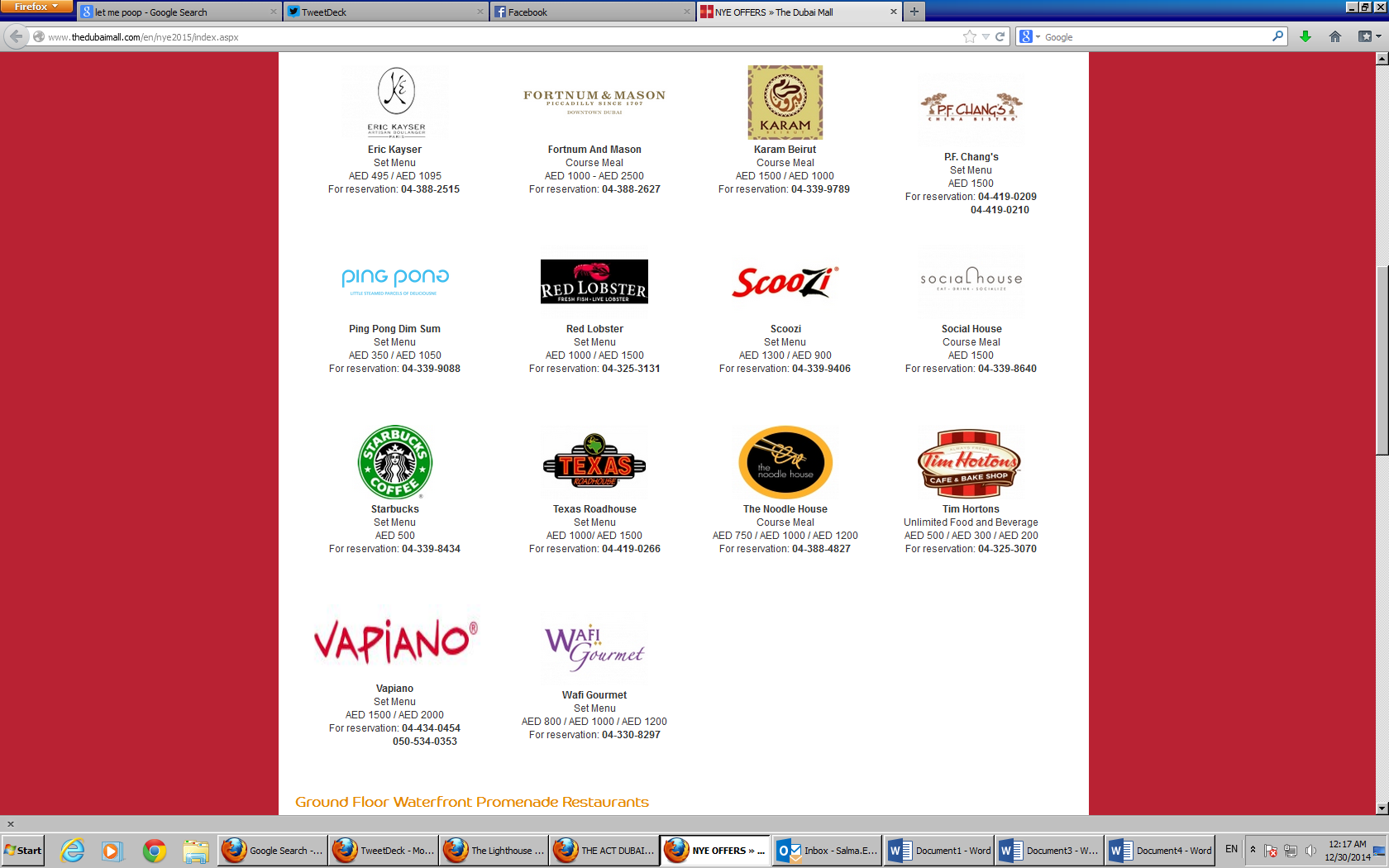 NYE price list dubai mall