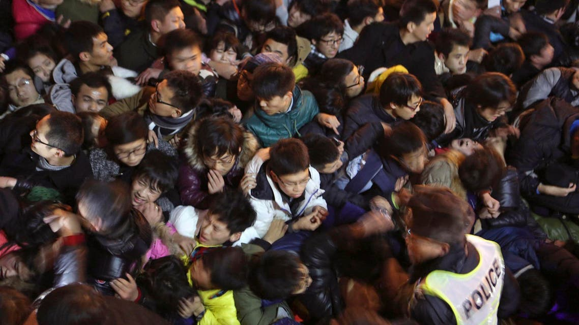 A view of a stampede is seen during the New Year's celebration on the Bund, a waterfront area in central Shanghai, December 31, 2014. reuters
