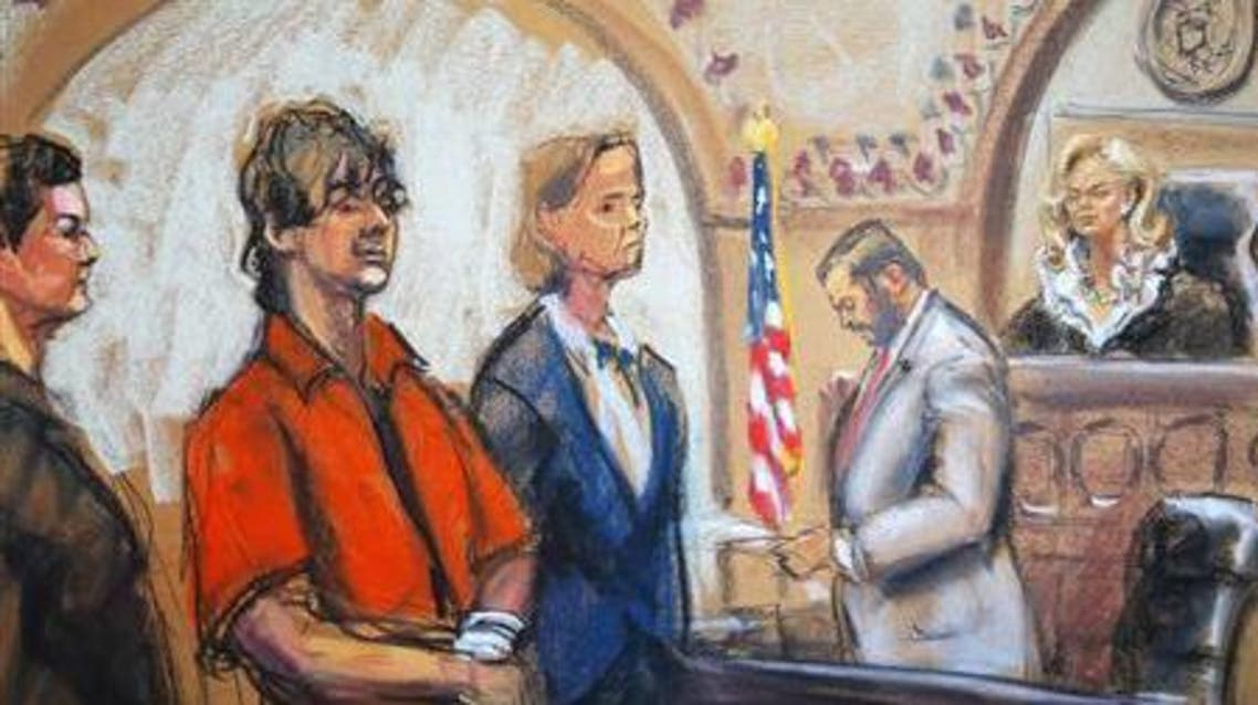 Defense attorneys Miriam Conrad (L) and Judy Clarke (centre) flank Dzhokhar Tsarnaev as Judge Marianne Bowler (R) looks on in court in Boston, Massachusetts in this July 10, 2013 court sketch.  (Reuters)
