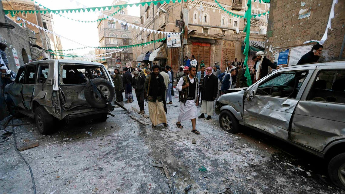People gather at the site of a bomb explosion in Sanaa. (File photo: Reuters)