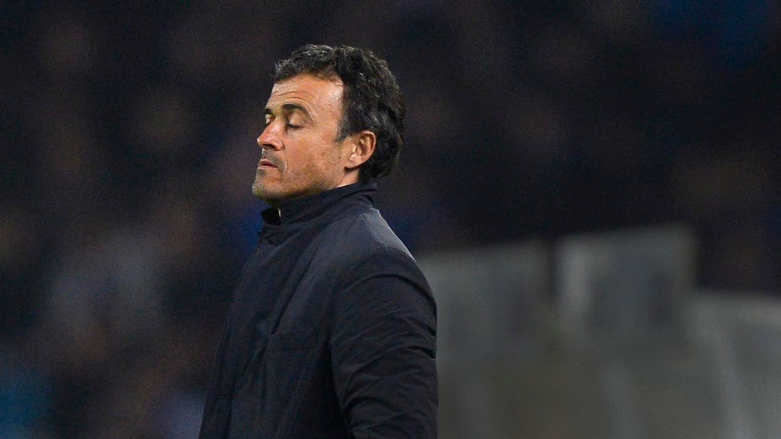 Barcelona's coach Luis Enrique reacts during their Spanish first division soccer match against Real Sociedad at Anoeta stadium in San Sebastian Jan.  4, 2015. (Reuters)