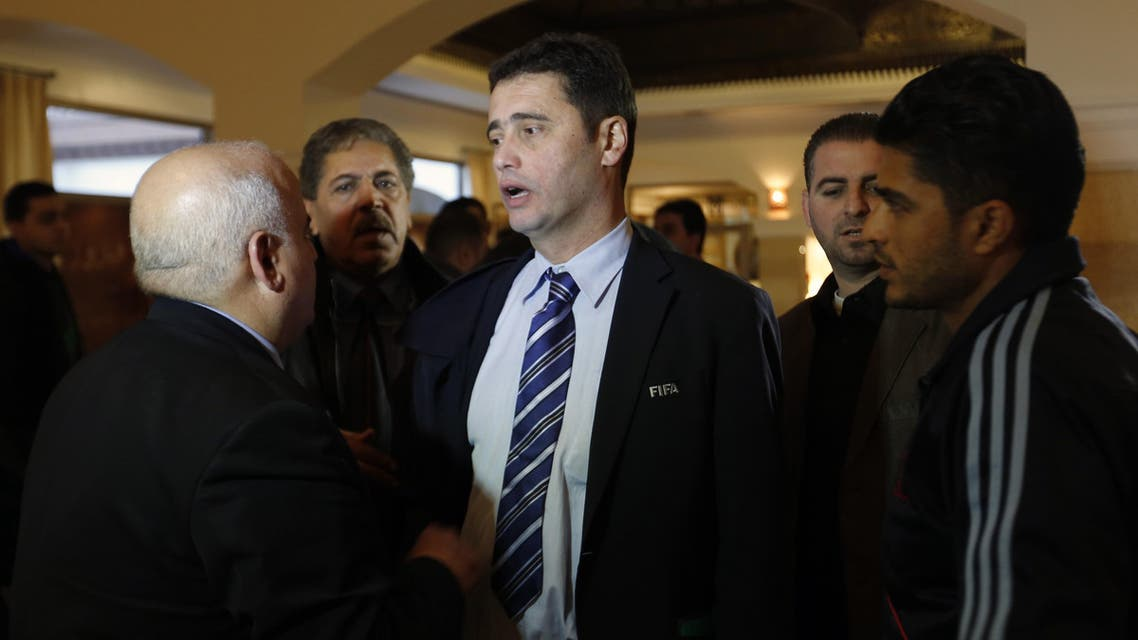 FIFA's senior development manager for Asia, David Borja arrives at his hotel on January 5, 2014 in Gaza City.  AFP