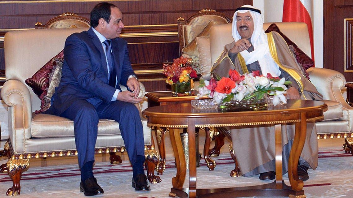 الشيخ صباح الأحمد الصباح خلال استقباله الرئيس عبدالفتاح السيسي