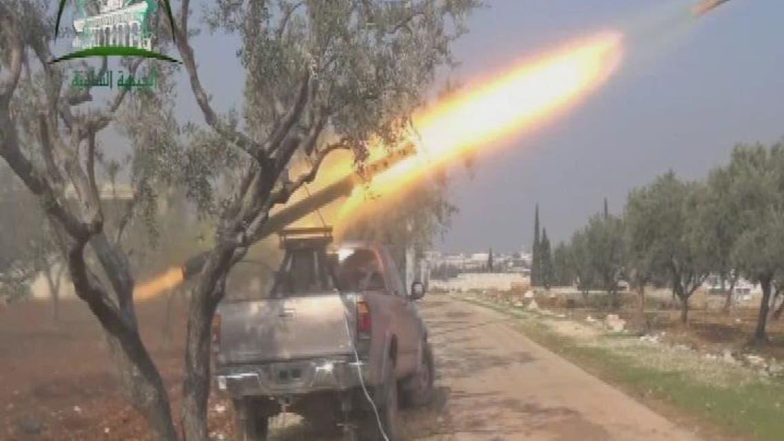THUMBNAIL_ الجيش الحر يستهدف بصواريخ غراد جيش النظام في مطار النيرب العسكري