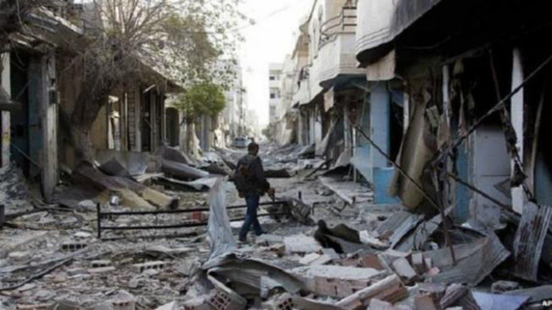آثار الدمار نتيجة للمعارك في كوباني