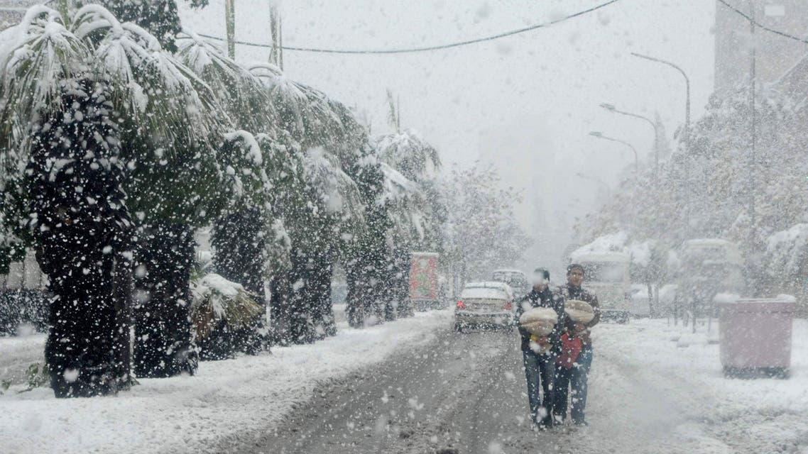 syria huda snow storm AFP