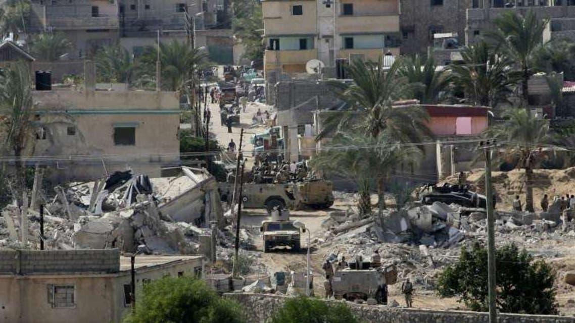 هدم المنازل في مدينة رفح المصرية لانشاء المنطقة العازلة على حدود مصر مع قطاع غزة