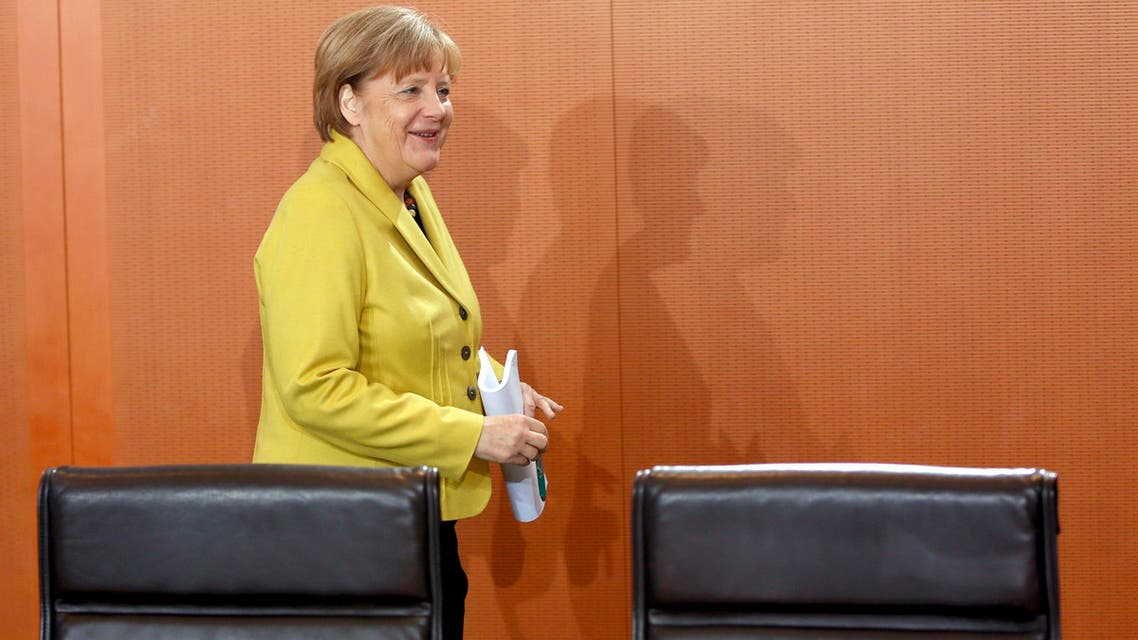 German Chancellor Angela Merkel arrives for a cabinet meeting at the Chancellery in Berlin, Jan. 7, 2015. (Reuters)