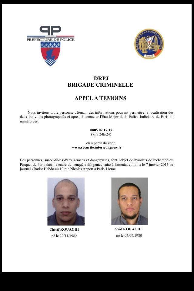 الشرطة الفرنسية تنشر صور المتهمين بتنفيذ الهجوم على الصحيفة في باريس