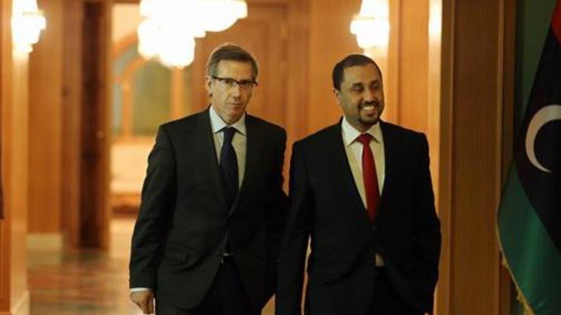 In this Thursday, Jan. 9, 2015 photo, U.N. Special Envoy to Libya Bernardino Leon, left, walks with Dr. Saleh Almkhozom, Second Deputy Chairman of the General National Congress, during their meeting in Tripoli, Libya. (AP)