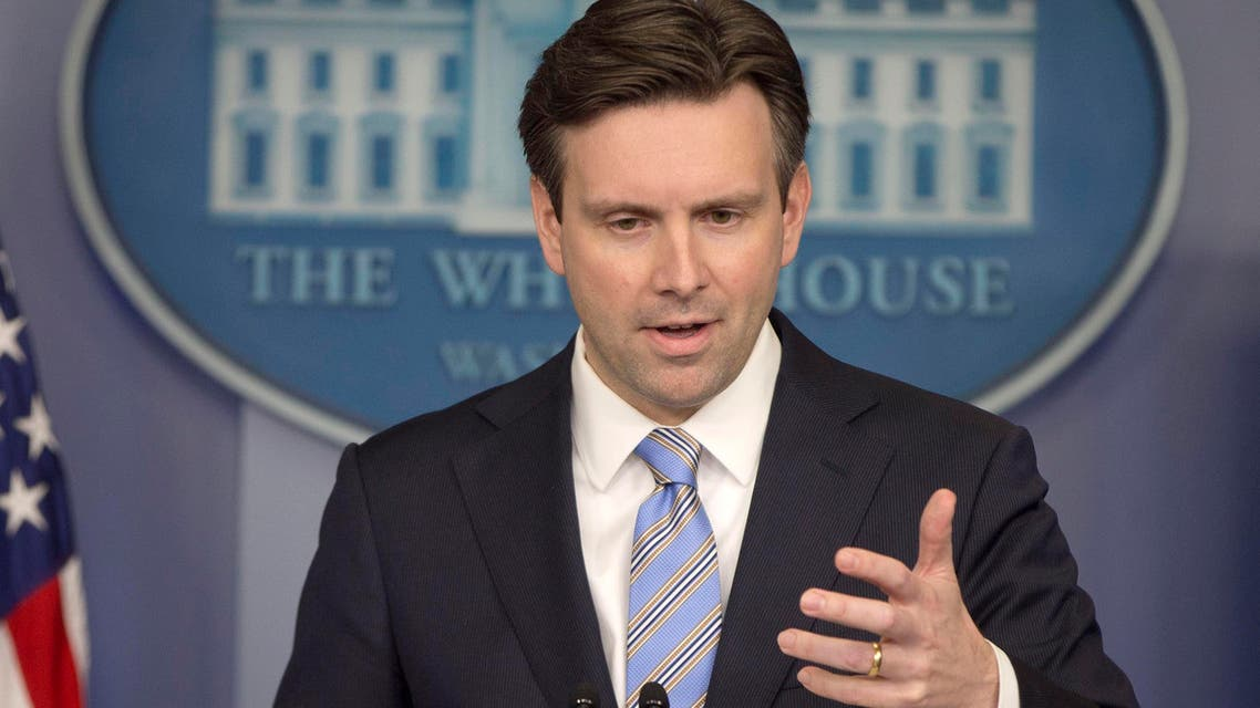 White House press secretary Josh Earnest speaks to the media during the daily briefing in the Brady Press Briefing Room of the White House, Monday, Jan. 12, 2015.  (AP)