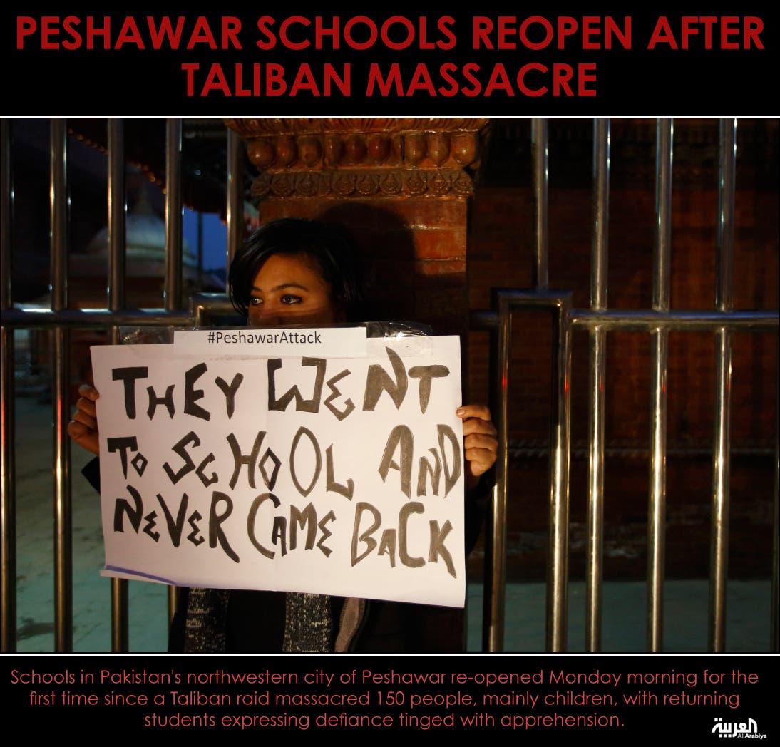 Peshawar schools reopen after Taliban massacre