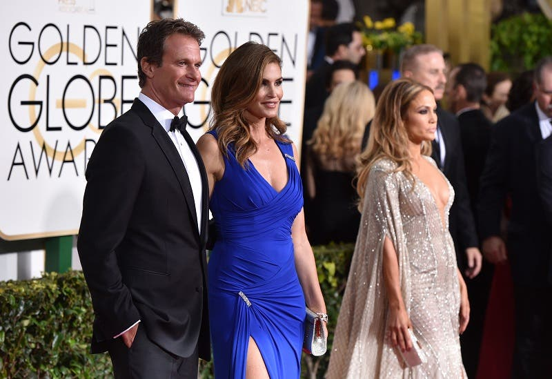 Rande Gerber, left, and Cindy Crawford arrive at the 72nd annual Golden Globe Awards at the Beverly Hilton Hotel on Sunday, Jan. 11, 2015, in Beverly Hills, Calif. (Photo by John Shearer/Invision/AP)