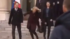 Danish PM falls to the ground during Paris visit