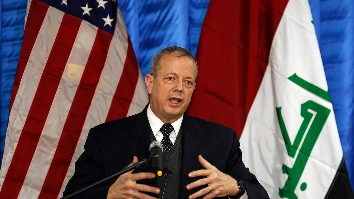 Retired U.S. General John Allen, special envoy for building the coalition against Islamic State, speaks to the media during a news conference at the U.S. embassy in Baghdad January 14, 2015.  Reuters