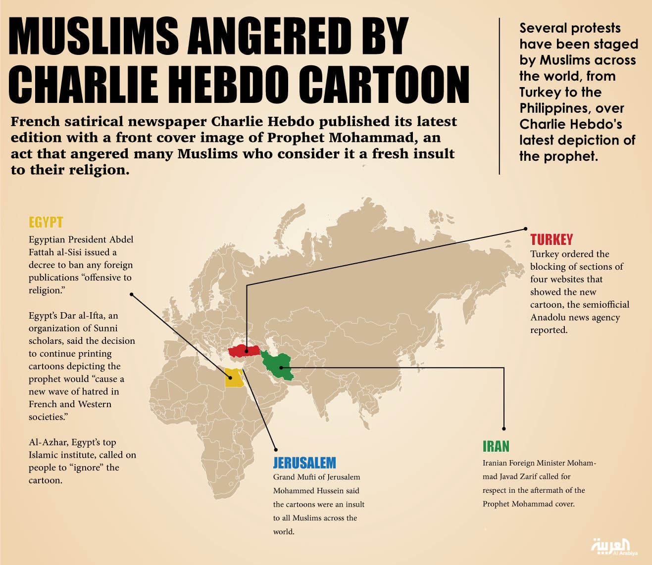 Infographic: Muslims angered by Charlie Hebdo's prophet cartoon