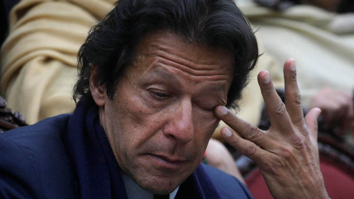 """Pakistan's cricketer-turned-politician Imran Khan gestures during a news conference following his visit to the Army Public School in Peshawar, Pakistan, Wednesday, Jan. 14, 2015. (AP)"